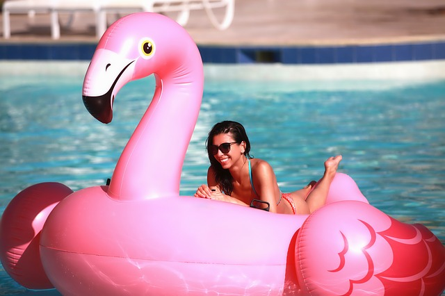 Miami Party planning-giant inflatable flamingo for pool party
